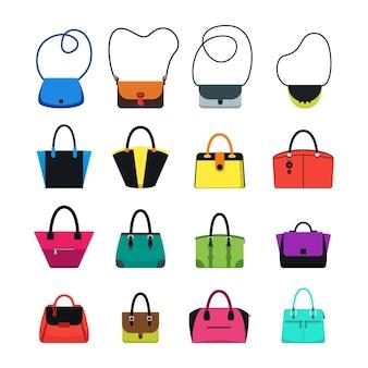 만화 핸드백 또는 여성 가방 색상 아이콘은 소녀와 여성을 위한 최신 유행의 패션 액세서리를 설정합니다. 벡터 일러스트 레이 션