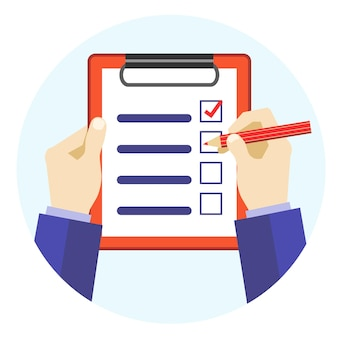 Cartoon hands holding red pen and checklist flat design style