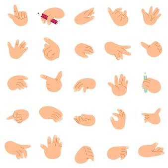 Мультфильм руки набор иконок и символов различные жесты отдельные векторные картинки клипа