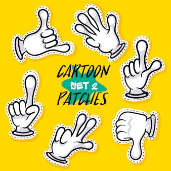 Cartoon hands showing different signs