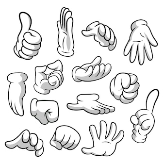 Cartoon hands with gloves icon set isolated on white background.  clipart - parts of body, arms in white gloves. hand gesture collection.