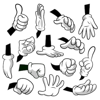 Cartoon hands with gloves icon set isolated on white background. vector clipart - parts of body, arms in white gloves. hand gesture collection. design templates, eps8 illustration.