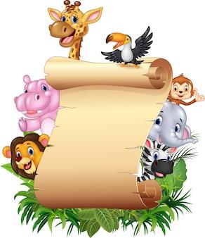 漫画ハッピーアフリカの動物と空白のサイン