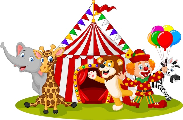 Cartoon happy animal circus and clown