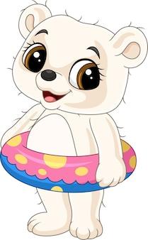 풍선 반지와 함께 만화 행복 한 아기 북극곰