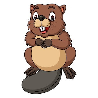 Cartoon happy beaver on white background