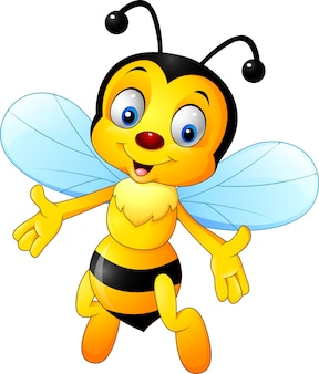 Cartoon happy bee isolated on white background