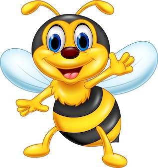 Cartoon happy bee waving