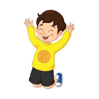 Счастливый мальчик мультфильм и прыжки