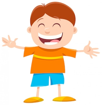 Cartoon of happy boy character