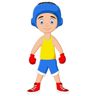 Cartoon of a happy boy dressed up as a boxer