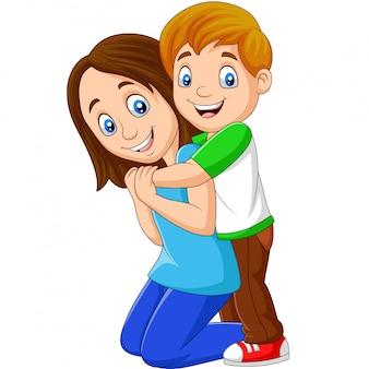 Cartoon happy boy hugging his mother