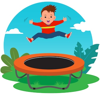 Cartoon happy boy jumping on trampoline