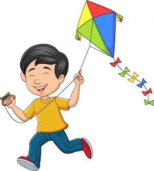 Cartoon happy boy playing kite