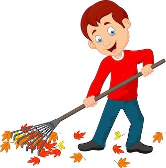 Cartoon happy boy raking leaves