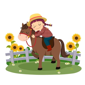 Cartoon of happy boy riding and hugging her horse