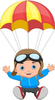 白い背景の上の漫画幸せな少年スカイダイビング