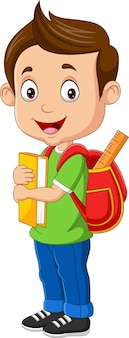 Cartoon happy boy with book and backpack