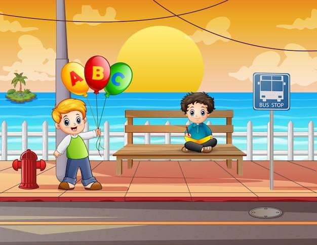 Cartoon happy boys in the street illustration