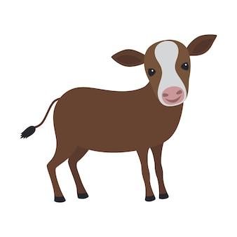 Мультфильм счастливый коричневый теленок