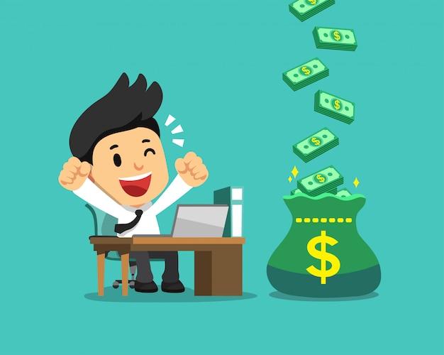 大きなボーナスお金の袋を持つ漫画幸せなビジネスマン