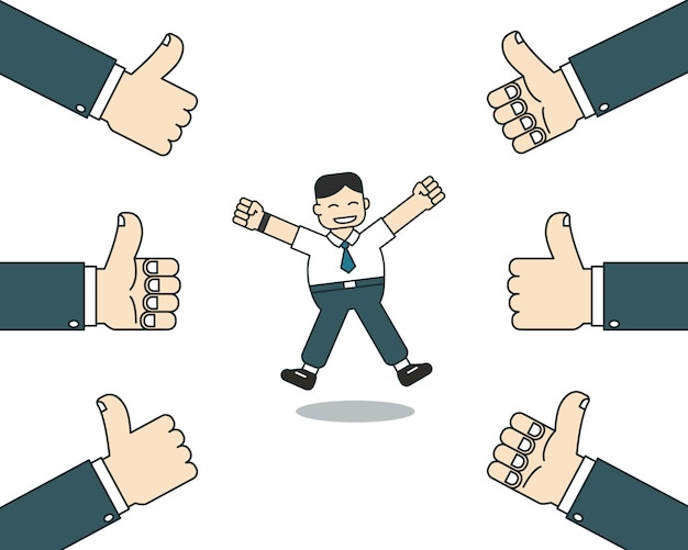 Cartoon happy businessman with many thumbs up hands