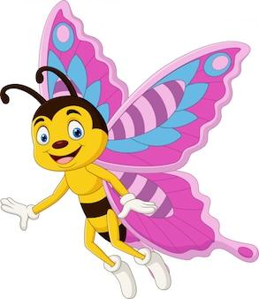 Мультяшная счастливая бабочка на белом фоне