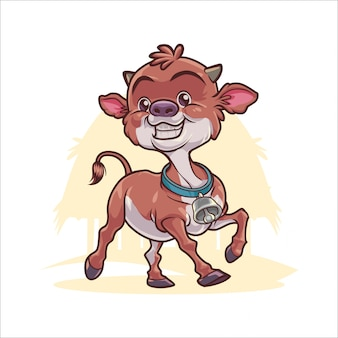 Cartoon happy calf