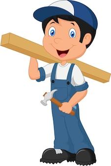 Cartoon happy carpenter