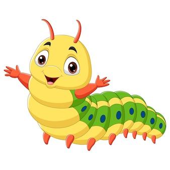 白い背景の上の漫画の幸せな毛虫