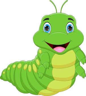 Cartoon happy caterpillar on white background