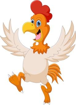 Мультфильм счастливый цыпленок на белом фоне