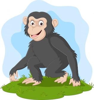 Cartoon happy chimpanzee in the grass