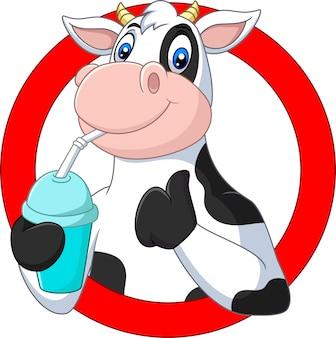Cartoon happy cow drinking water