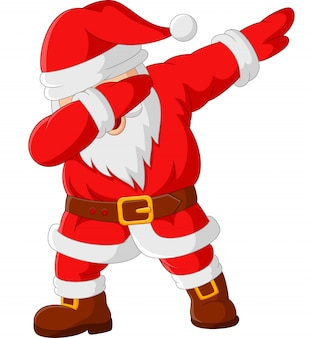 Cartoon happy dancing santa claus