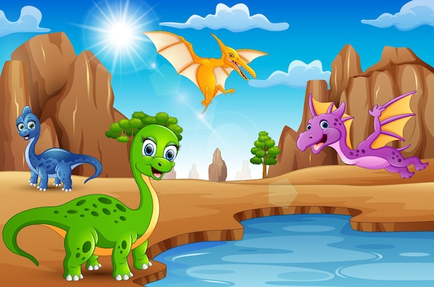 砂漠に住む漫画の幸せな恐竜