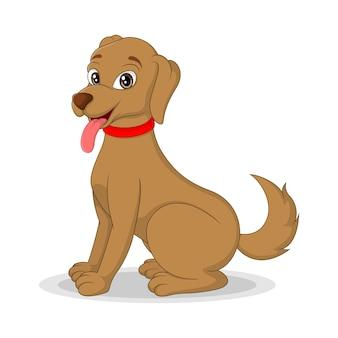 白い背景の上の漫画幸せな犬
