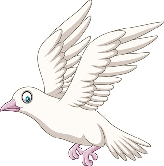 Cartoon happy dove flying