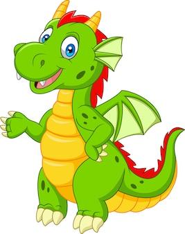 Cartoon happy dragon presenting