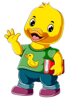 Cartoon happy duck holding book
