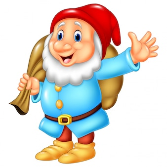 Cartoon happy dwarf carrying sack