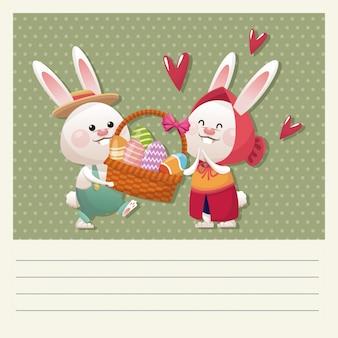 Мультфильм счастливой пасхальной паре зайчик корзины яйцо