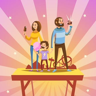 Cartoon happy family in amusement park with retro style attractions on background