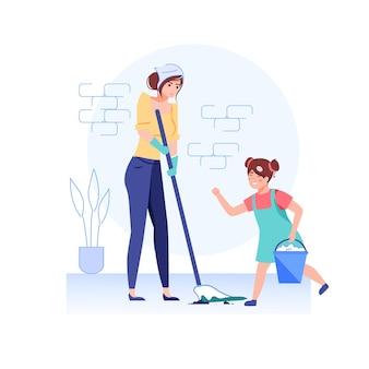 家を掃除する漫画の幸せな家族のキャラクター。