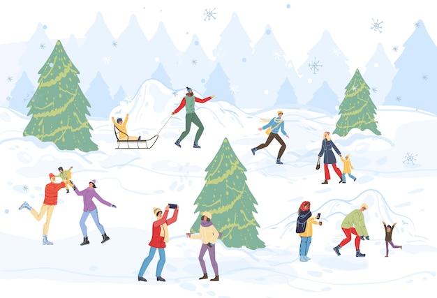 Мультяшные счастливые семейные персонажи делают зимние мероприятия на свежем воздухе, катаются на санках