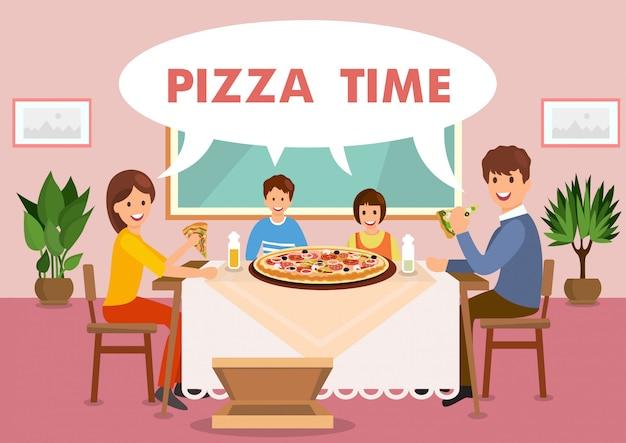 Cartoon happy family is having lunch in restaurant