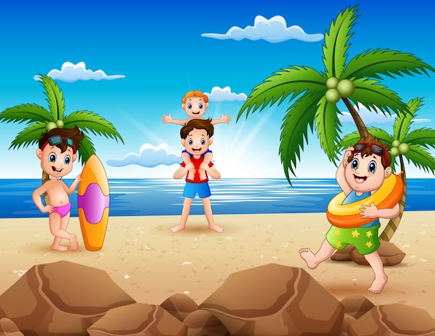 Cartoon of happy family playing on the beach