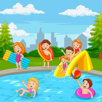 Cartoon happy family playing in swimming pool
