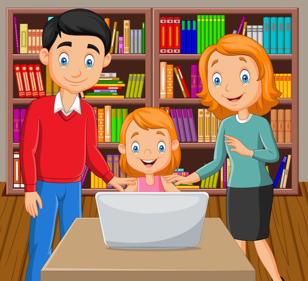 Cartoon happy family watching a laptop