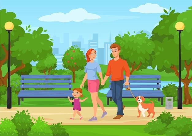 Мультяшная счастливая семья с детьми гуляет в городском парке, отец, мать и дочь проводят время на открытом воздухе